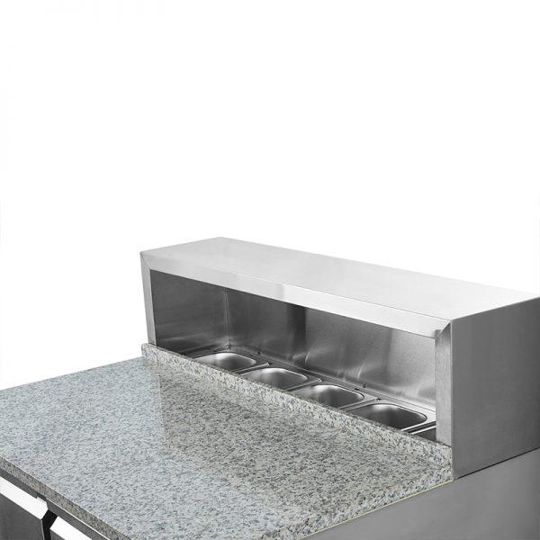 Mesón Saladette 2 Ptas. Cubierta Mármol c Acero VMRSL-360