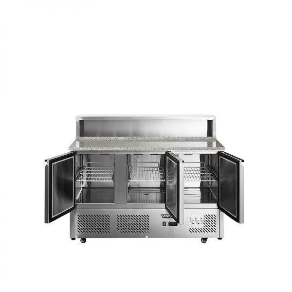Mesón Saladette 3 Ptas. Cubierta Mármol c Acero VMRSL-365