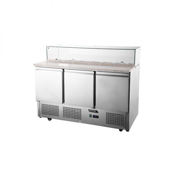 Mesón Saladette 3 Puertas Cubierta Marmol c/Vidrio VMRSL-395